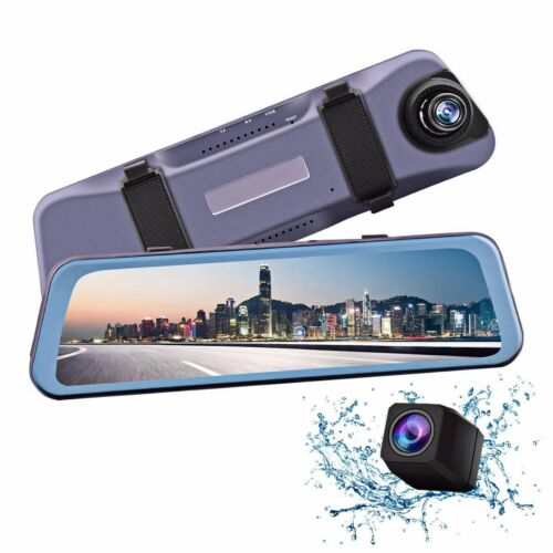 "Mirror Dash Camera 9.66/"" Full Touch Screen Streaming Media Backup Camera .. New"