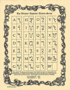 Poster-Page-WITCHES-039-ALPHABET-THEBAN-Pagan-Wicca-Book-of-Shadows-Guide-8-1-2-x11