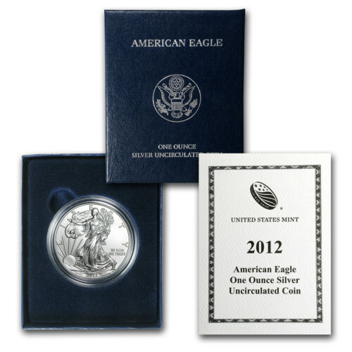 SKU #70744 2012-W Burnished Silver American Eagle w//Box /& COA
