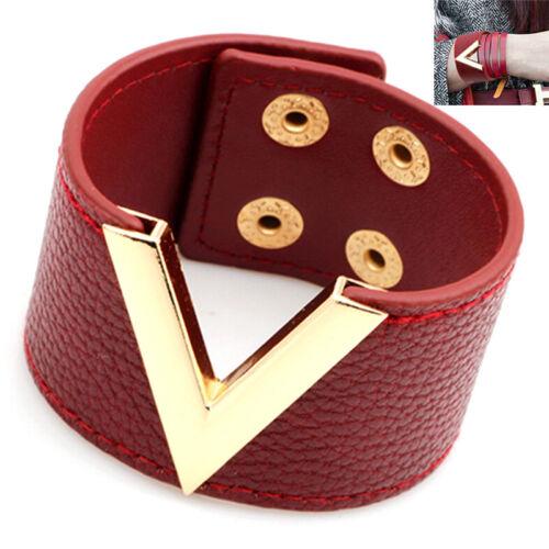 Gros bracelet en cuir punk rock marron gros bracelet en cuir manchette BB