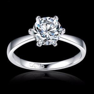 18-Ct-Blanco-relleno-de-oro-1-6-CT-Diamante-Cristal-Gema-seis-garra-de-anillo-de-compromiso