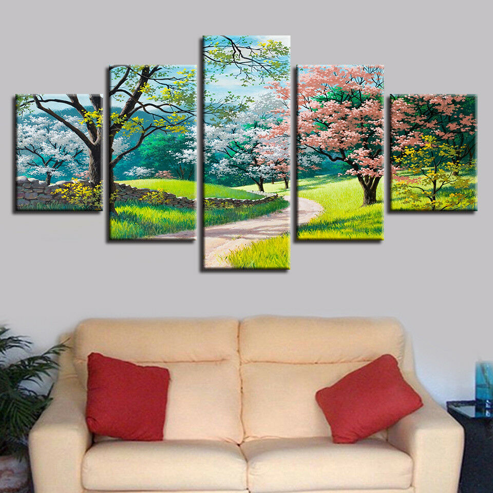 Spring Garden Path Trees Flowers Painting 5 Piece Canvas Print Wall Art Poster