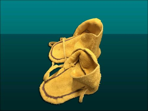 """Details about  /4.5/"""" KIDS/' NATIVE AMERICAN LEATHER WRAPAROUND MOCCASINS"""