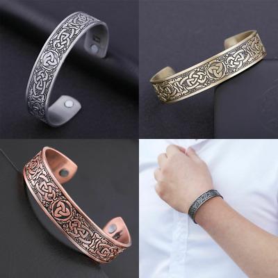 Celtic Knotwork Trinity Magnetic Bracelet Viking Cuff Bangle for Men