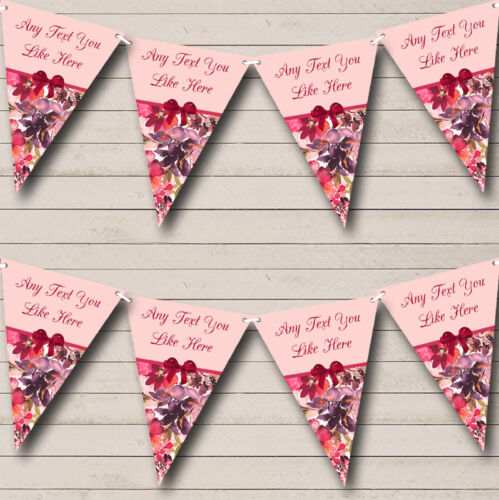 Deep Pink Floral Vintage Shabby Chic Hen Do Night Party Bunting Banner