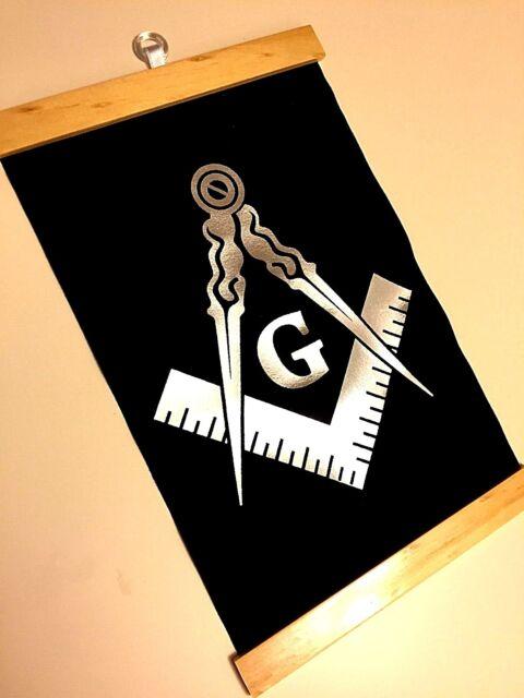 Silver Blue Masonic Banner Frame Freemasons Square Compass Master ...
