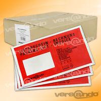 WOW 1000 Lieferscheintaschen DIN lang rot Dokumententaschen Begleitpapierhüllen