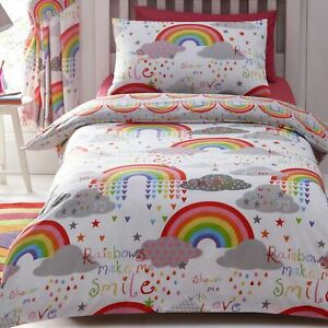 Wolken Und Regenbogen Doppelbett Bezug Set Kinder Bettwäsche Bunt Wendbar