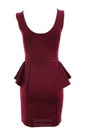 Robe courte dames sans manches motif or brillant Peplum Frill Maj féminines 8-16