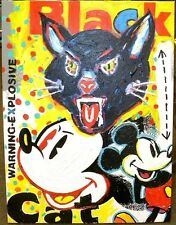 Mickey Mouse Black Cat Firecrackers 18x24 Acrylic on Canvas John Stango Painting