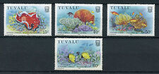Tuvalu 1988 MNH Coral Reef Life Part II 4v Set Marine Fish Corals Stamps