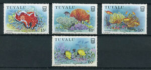 Tuvalu-1988-MNH-Coral-Reef-Life-Part-II-4v-Set-Marine-Fish-Corals-Stamps