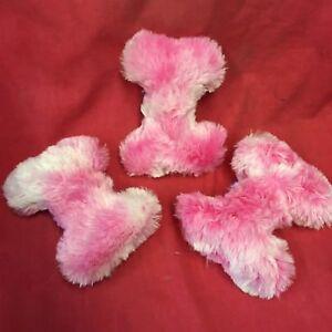 """3 X Puppytoy Super Doux Moelleux Squeaky Bone 6"""" Rose Chiot Buddy 1st Puppy Toy-afficher Le Titre D'origine"""