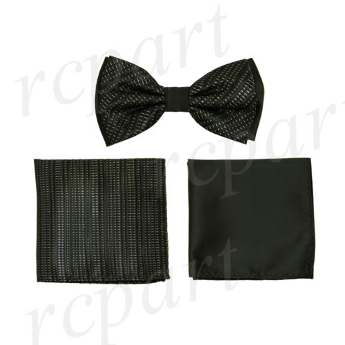 New Men/'s Pre-tied Bow tie /& 2 hankies set black white stroke stripes formal