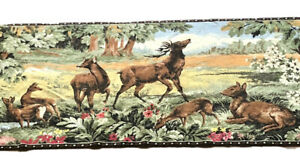 Vtg-Tapestry-Wall-Hanging-Elks-Buck-Stag-Deer-26-x69-Lodge-Cabin-Decor