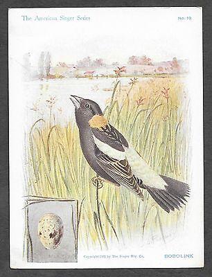 Trade Card Singer Sewing Machines American Song Bird Bobolink #10