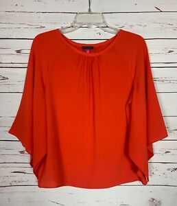 Vince Camuto Women's Size XS Extra Small Red Orange Cute Spring Top Blouse Shirt