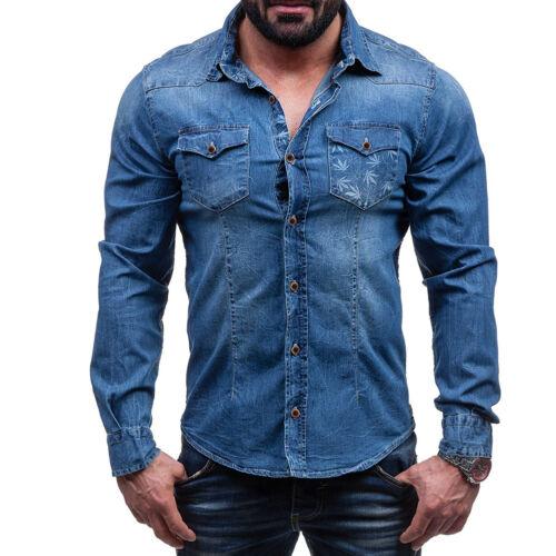 Herbst Männer Tasche Blatt Dekorieren Lange ärmel Denim Hemden Jeans Bluse GD