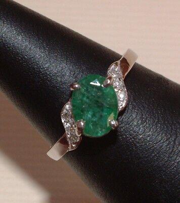 1,10Kt 585er Gelbgold Natürlichen Grünen Smaragd Runden Form Verlobungs Ring