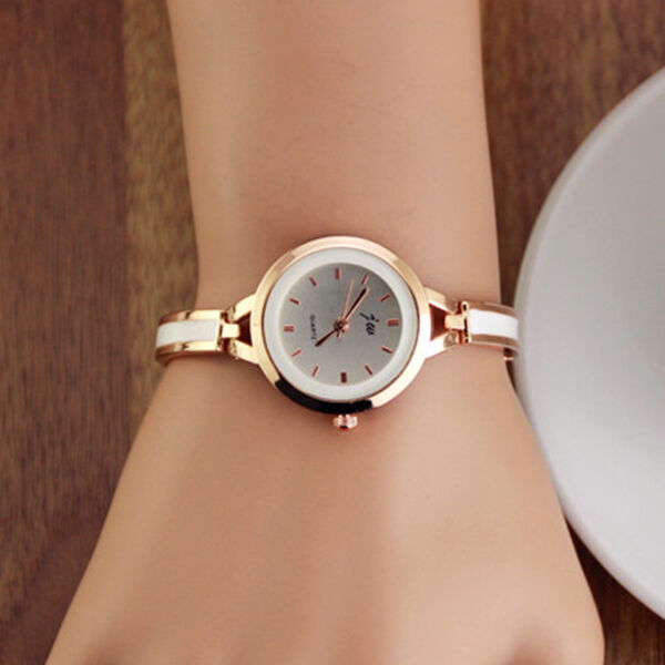 Fashion Womens Lady Gold Round Quartz Analog Fashion Dress Bracelet Wrist Watch