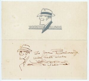 Chester Gould - Dick Tracy Comic Strip Creator & Artist/Signed Dick Tracy Sketch