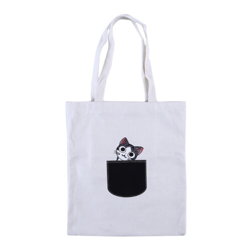 Animal Print Pocket Canvas Bags Shopping Tote Shoulder Bags Student Book Bag S