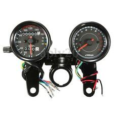 Universal Black Motorcycle LED Light Odometer & Tachometer Speedometer Gauge US
