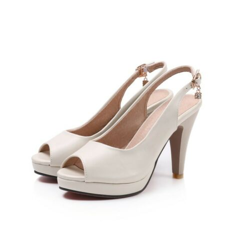 Details about  /Women/'s Shoes Peep Toe Slingbacks High Heels Pumps Sandals Buckle Strap Prom B