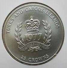 TURKS- UND CAICOS-INSELN: 25 DOLLAR 1977, 25. THRONJUB. V. ELISABETH II. STGL. !