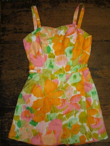 VTG 1950s 60s GABAR SWIMSUIT 14 PLAYSUIT SKIRTED B