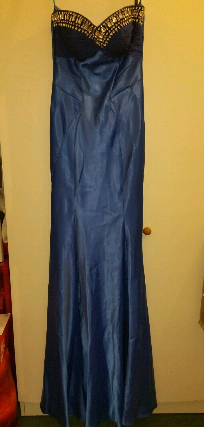 BNWT JANE NORMAN ROYAL blueE JEWEL GEM SATIN MAXI DRESS SIZE 8