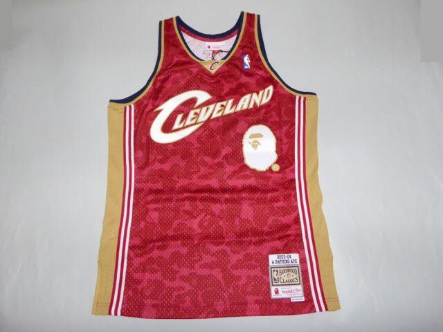 60568b3fbc2 18877 mitchell ness bape cavs abc basketball swingman jersey tanktop  burgundy L