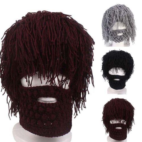 Funny Creative New Beard Hand Wigs Hat Wool Knitted Crochet Beanie Cap