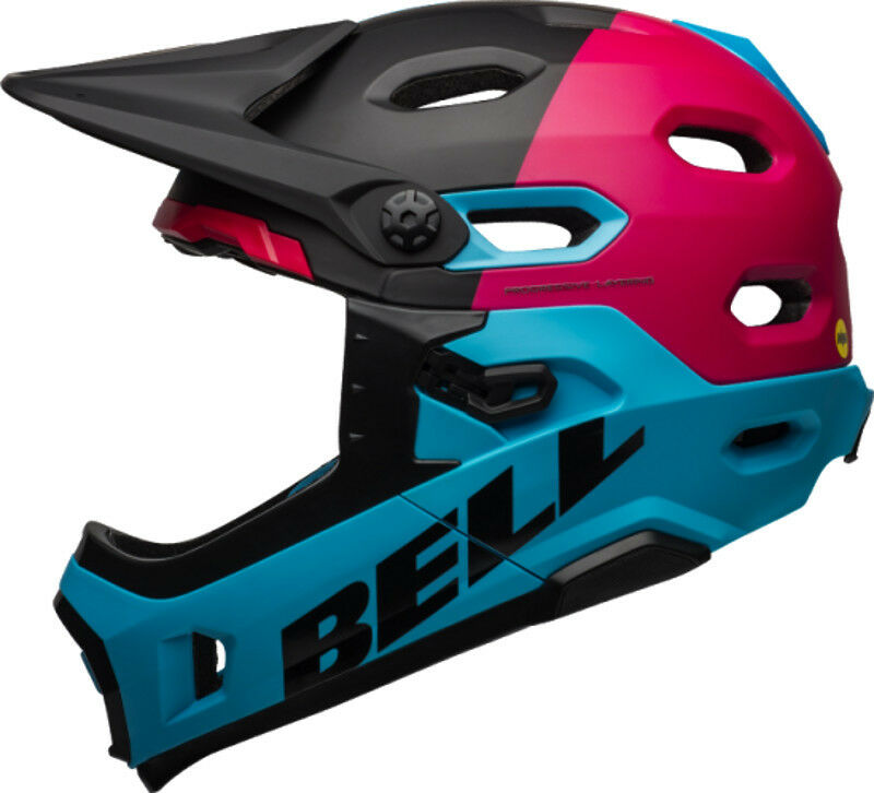 Bell súper DH Full Face MIPS Bike Helmet Matte Gloss negro Berry azul