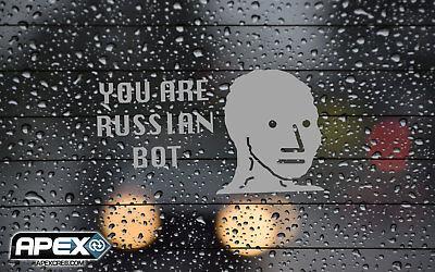 NPC Meme Russian Bot Brexit Inspirational  Trump Parody Funny Vinyl Sticker Grey