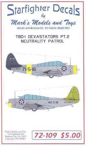 Starfighter Decals 1//72 DOUGLAS TBD-1 DEVASTATOR NEUTRALITY PATROL