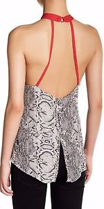 Free People OB545513 Through The Night Printed Open-Back Top in Black S,M,L