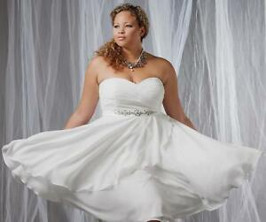 Short Plus Size White/Ivory Chiffon Wedding Dress Formal Bridal Lace ...
