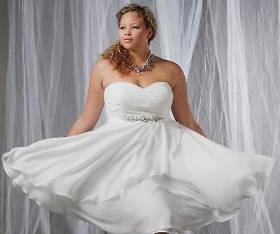 Short Plus Size White/Ivory Chiffon Wedding Dress Formal Bridal Lace Up  14-28W++ 7708424745226 | eBay