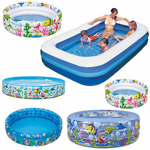 Inflatable garden kids paddling pool baby 3 ring sea ocean for Baby garden pool