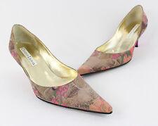 Christian Lacroix Mauve Peach Pink Floral Print Satin Heel Pump Shoe Size 38 8