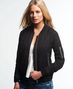 New Womens Superdry Lillie Bomber Jacket Black