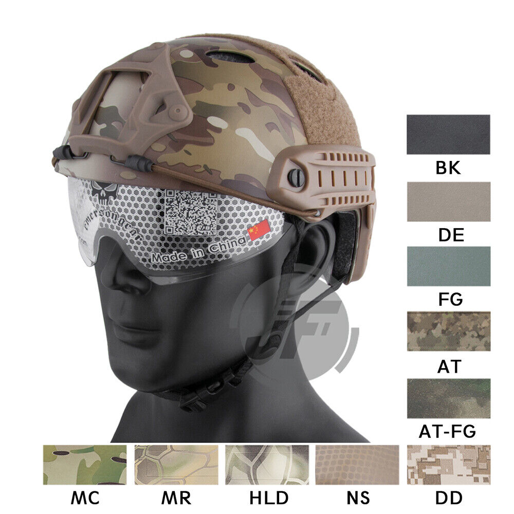 Emerson PJ Type FAST Helmet Predector Tactical Helmet with  Goggles + NVG Shroud  quality assurance