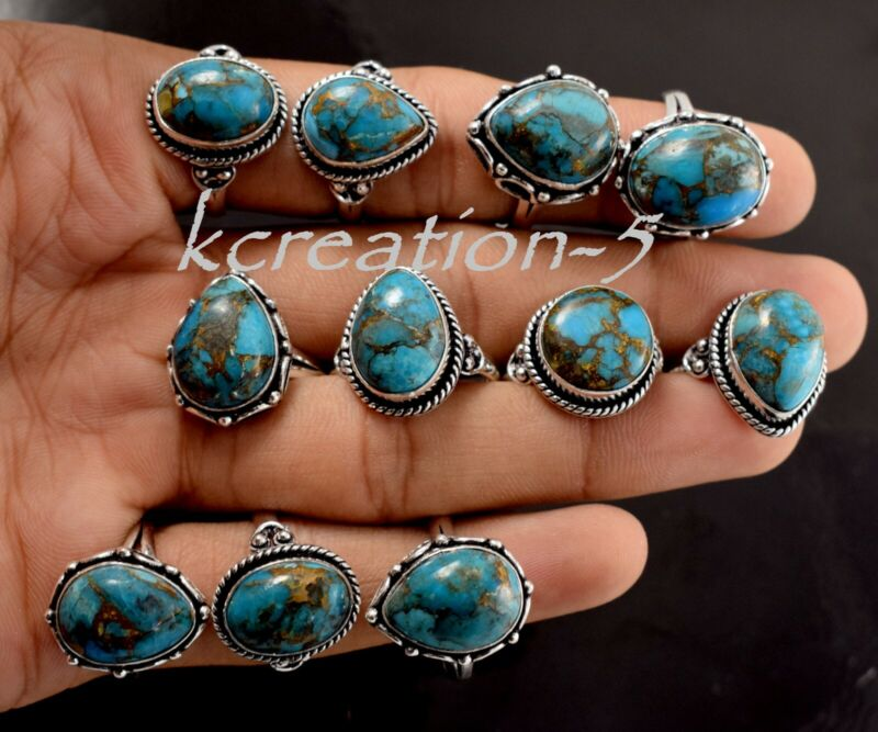 Bulk Lot 50 Pcs. Natural Blue Copper Turquoise Gemstone 925 Silver Plated Rings