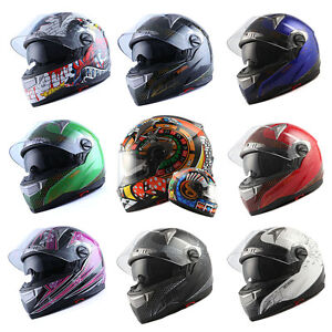 NEW 1STORM MOTORCYCLE FULL FACE HELMET BIKE DUAL VISOR BLACK BLUE GREEN RED PINK