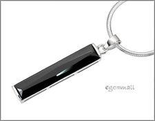 925 Silver Rectangle Pendant w/CZ Black 6x31mm #65430