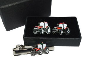 Red-Tractor-Cufflinks-amp-Tie-Clip-Set-Case-International-GIFT-BOXED-Enamel