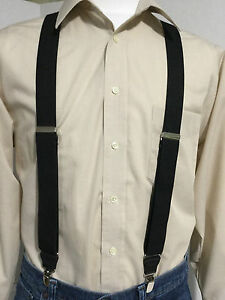 "New, Men's, Black, XL, 1.25"", Adj. Windsor Suspenders / Braces, Made in the USA"