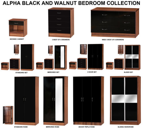 Alpha Black High Gloss /& WalnutModern Budget Bedroom Furniture Units and Sets