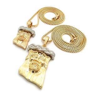 New mini micro 2 jesus piece pendant necklace chain set hip hop image is loading new mini micro 2 jesus piece pendant necklace aloadofball Image collections